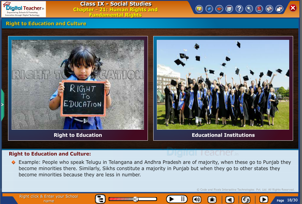 Smart class - social studies on various Human rights and Fundamental rights of an Indian citizen