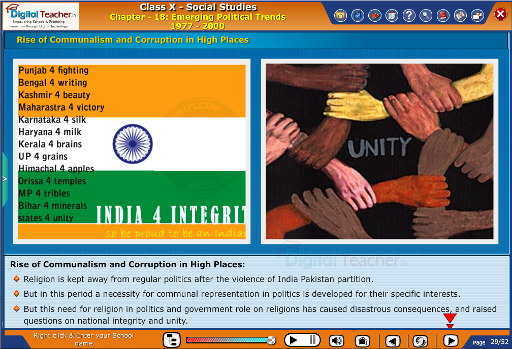 Smart class - social studies on rise of communalism and corruption in high places