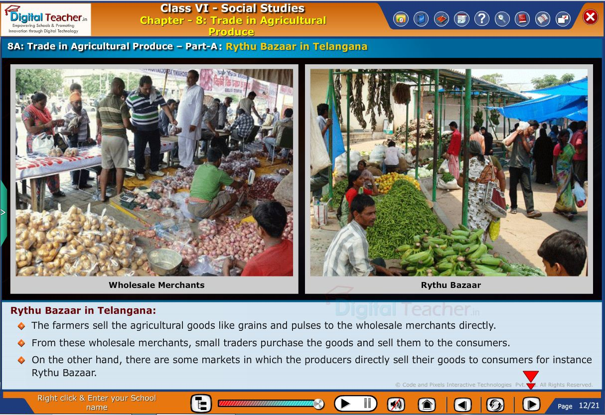 Smart class - social infographic on trade in agricultural products and about rythu bazar in telangana