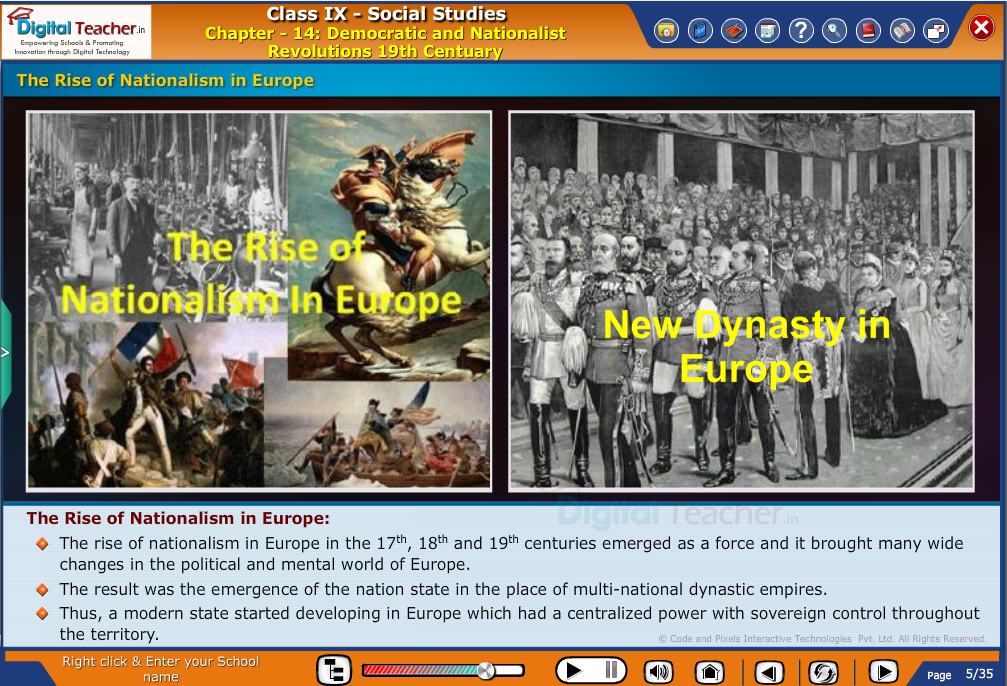 Smart class - social studies about the rise of nationalism in the Europe and new dynasty