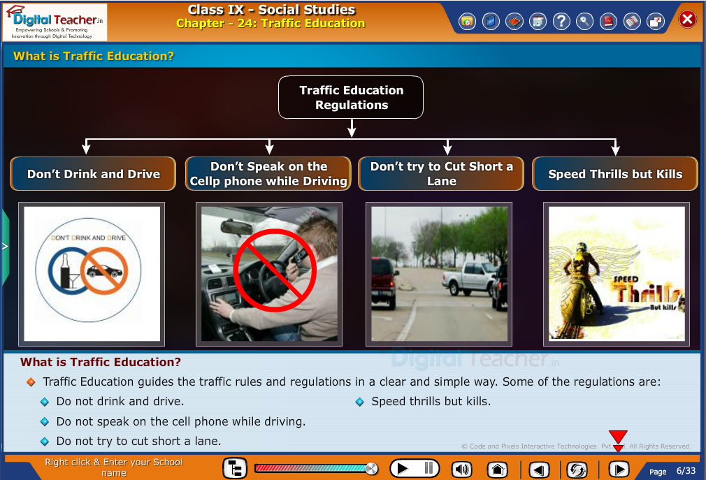 Smart class - social studies about Traffic Education and Regulations to be followed