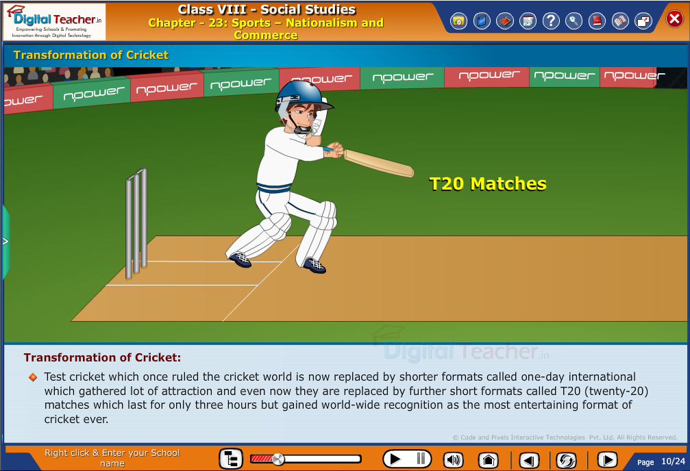 Smart class - social studies on transformation of cricket from time to time