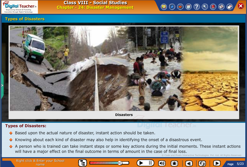 Smart class - social studies on types of disaster and initial steps