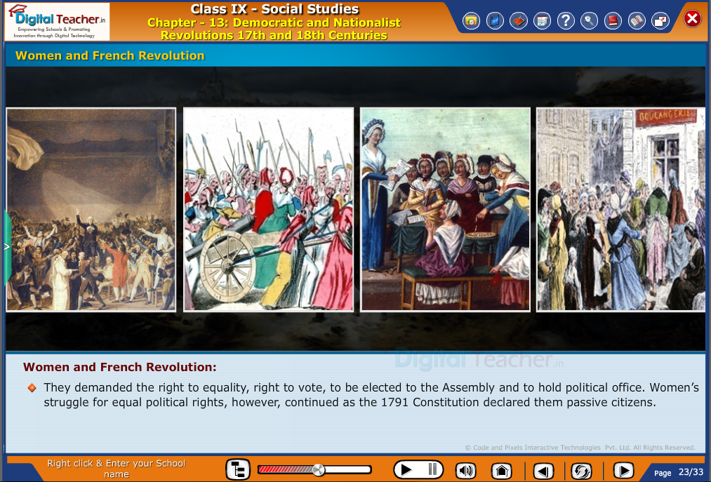 Smart class - social studies on various revolutions and explaining about women and french revolutions